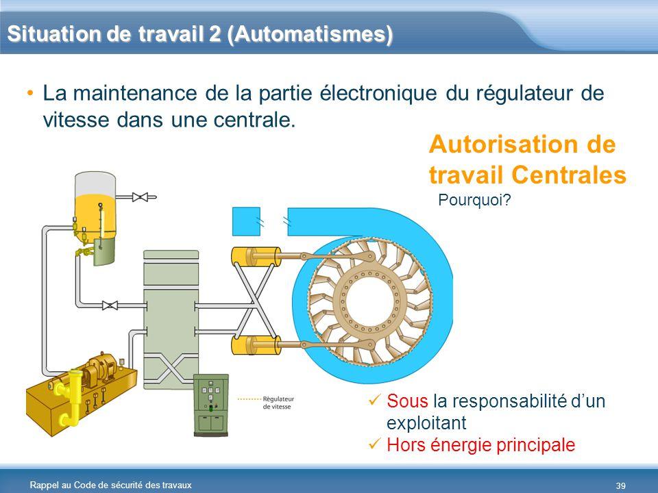 Rappel au Code de sécurité des travaux Situation de travail 2 (Automatismes) La maintenance de la partie électronique du régulateur de vitesse dans un