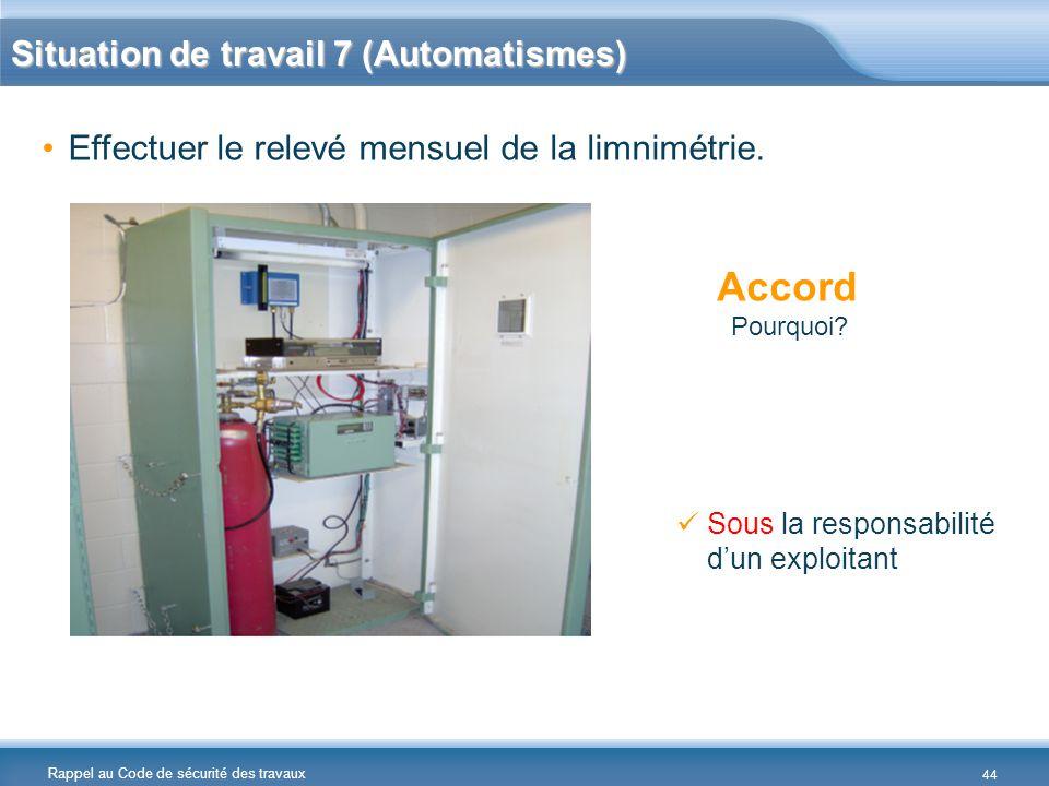 Rappel au Code de sécurité des travaux Situation de travail 7 (Automatismes) Effectuer le relevé mensuel de la limnimétrie. Accord Pourquoi? Sous la r