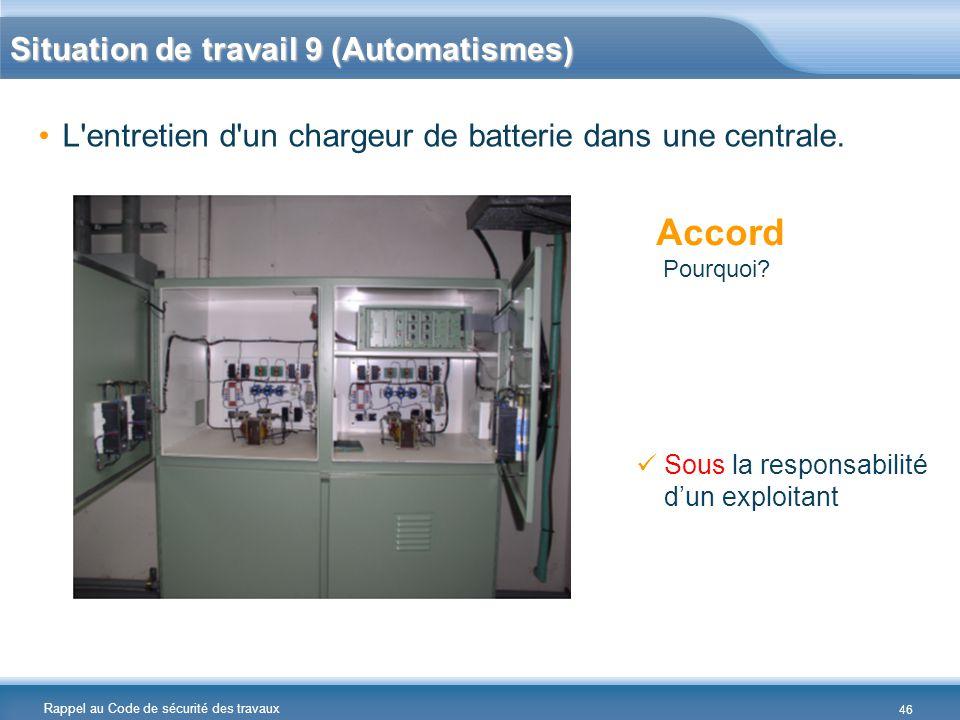 Rappel au Code de sécurité des travaux Situation de travail 9 (Automatismes) L'entretien d'un chargeur de batterie dans une centrale. Accord Pourquoi?