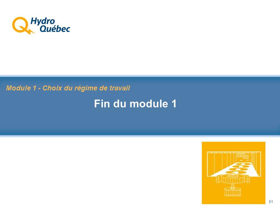 Rappel au Code de sécurité des travaux 51 Module 1 - Choix du régime de travail Fin du module 1