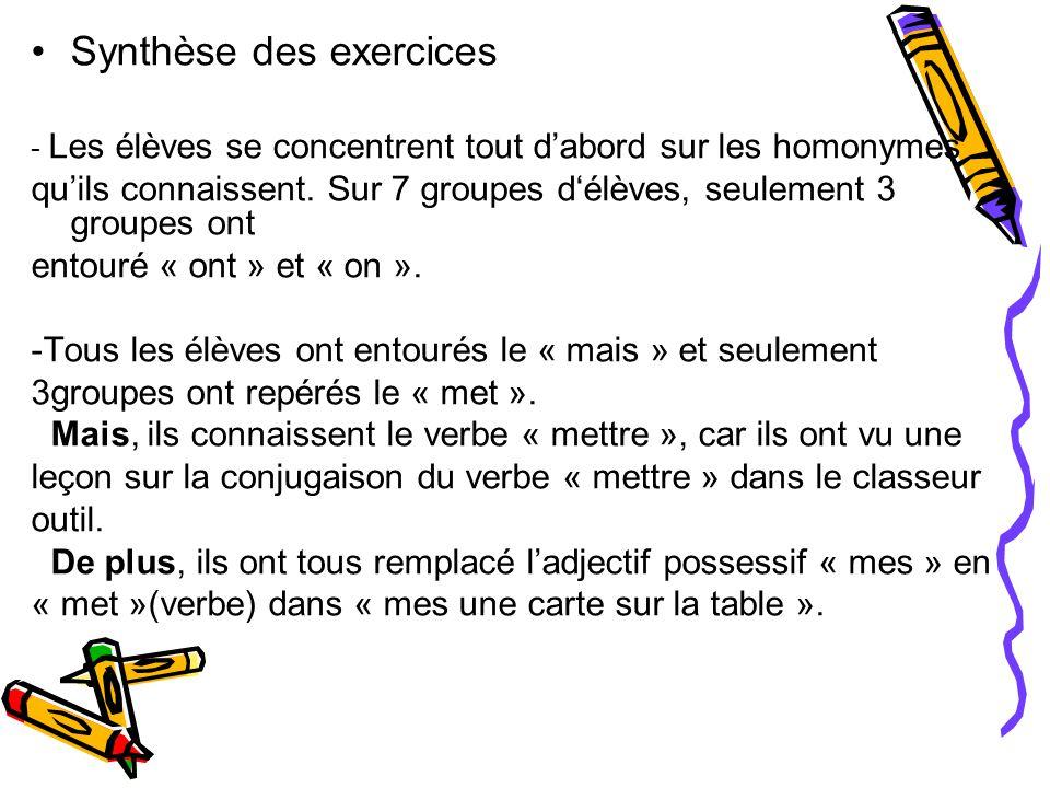 Synthèse des exercices - Les élèves se concentrent tout d'abord sur les homonymes qu'ils connaissent.