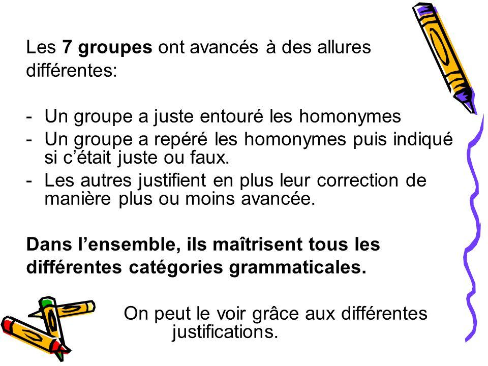 Les 7 groupes ont avancés à des allures différentes: -Un groupe a juste entouré les homonymes -Un groupe a repéré les homonymes puis indiqué si c'était juste ou faux.