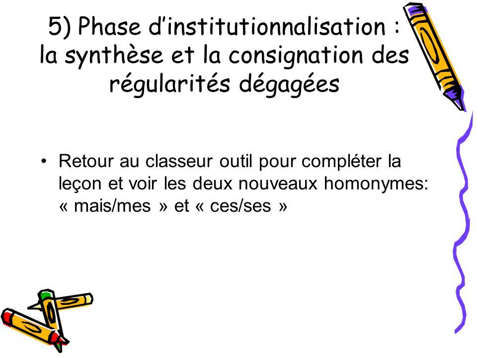 5) Phase d'institutionnalisation : la synthèse et la consignation des régularités dégagées Retour au classeur outil pour compléter la leçon et voir les deux nouveaux homonymes: « mais/mes » et « ces/ses »
