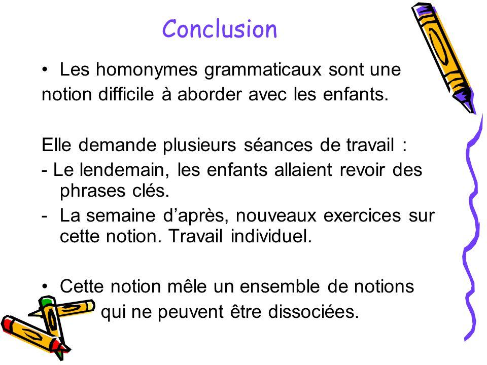 Conclusion Les homonymes grammaticaux sont une notion difficile à aborder avec les enfants.