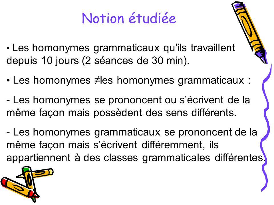 Notion étudiée Les homonymes grammaticaux qu'ils travaillent depuis 10 jours (2 séances de 30 min).