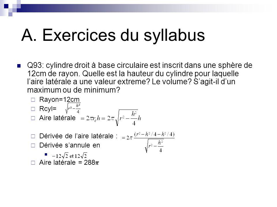 A. Exercices du syllabus Q93: cylindre droit à base circulaire est inscrit dans une sphère de 12cm de rayon. Quelle est la hauteur du cylindre pour la