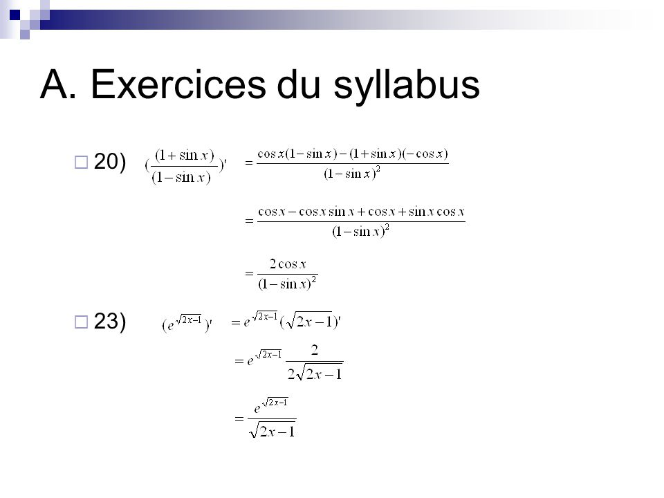 A. Exercices du syllabus  20)  23)