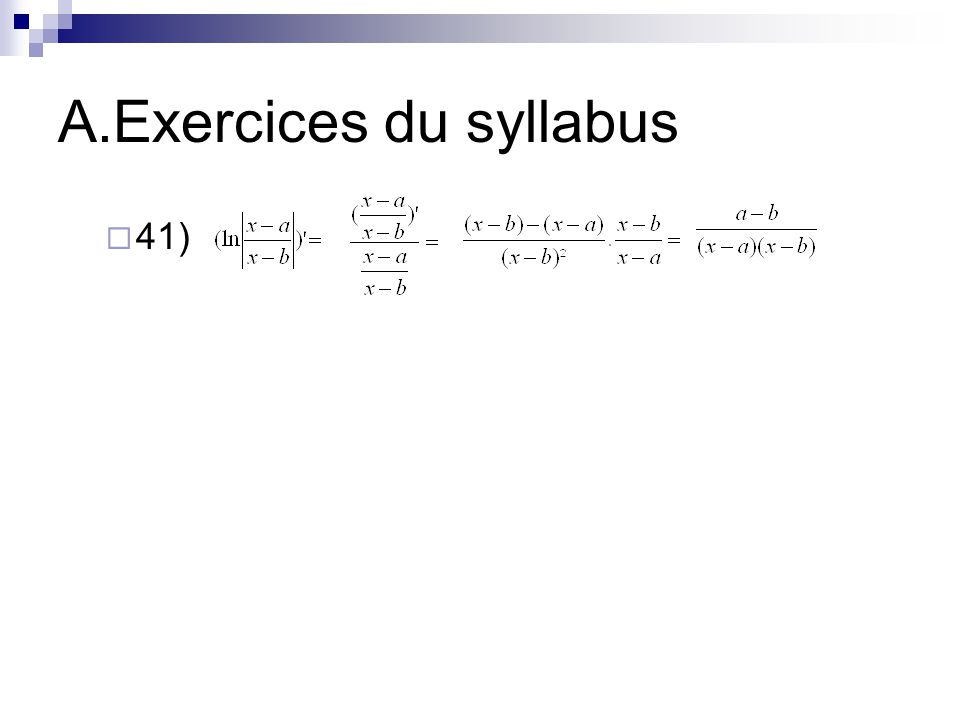 A.Exercices du syllabus  41)