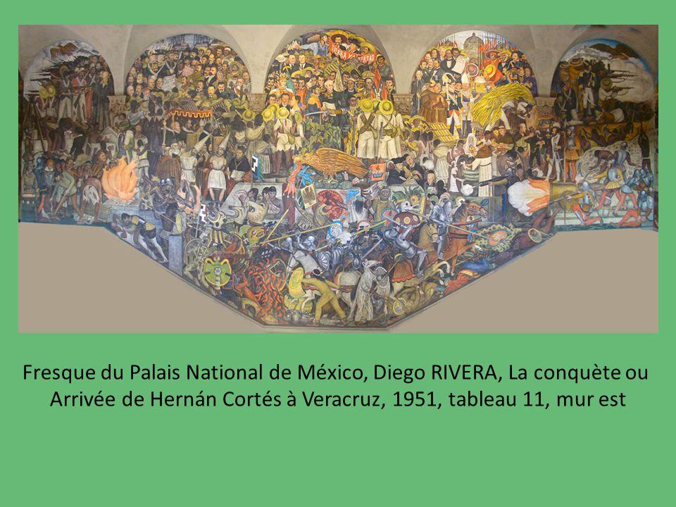 Fresque du Palais National de México, Diego RIVERA, La conquète ou Arrivée de Hernán Cortés à Veracruz, 1951, tableau 11, mur est