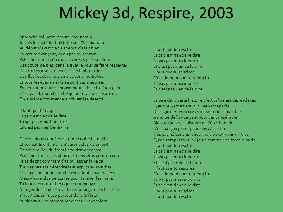 Mickey 3d, Respire, 2003 Il faut que tu respires Et ça c'est rien de le dire Tu vas pas mourir de rire Et c'est pas rien de le dire Il faut que tu res