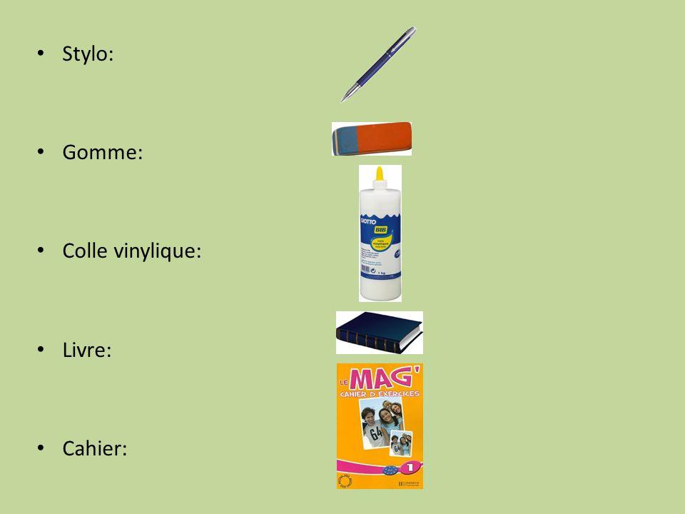 Stylo: Gomme: Colle vinylique: Livre: Cahier: