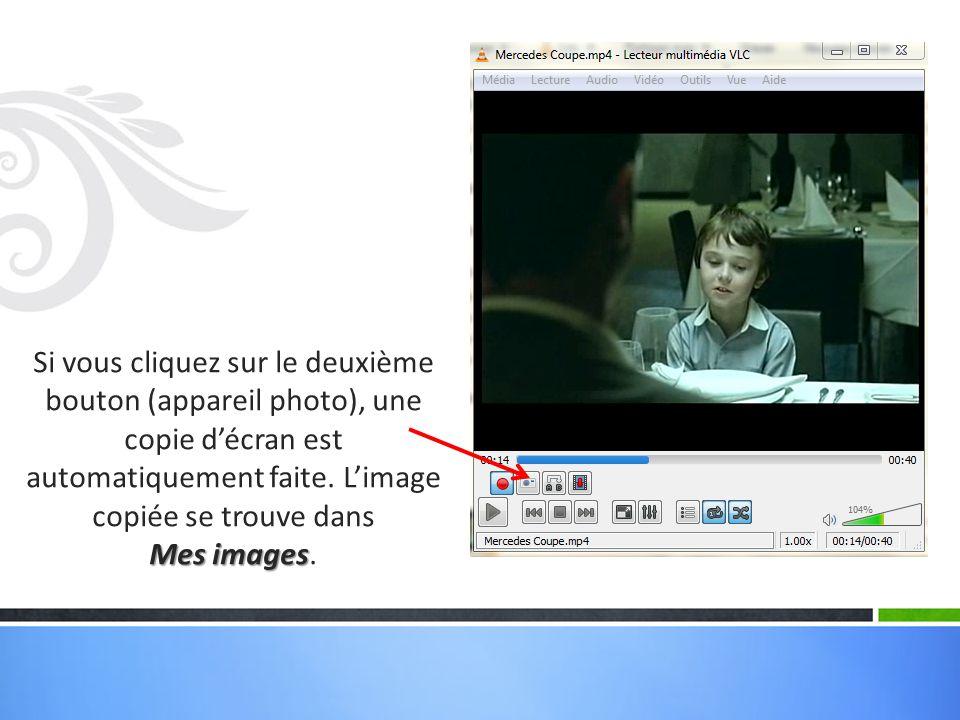 Si vous cliquez sur le deuxième bouton (appareil photo), une copie d'écran est automatiquement faite. L'image copiée se trouve dans Mes images Mes ima