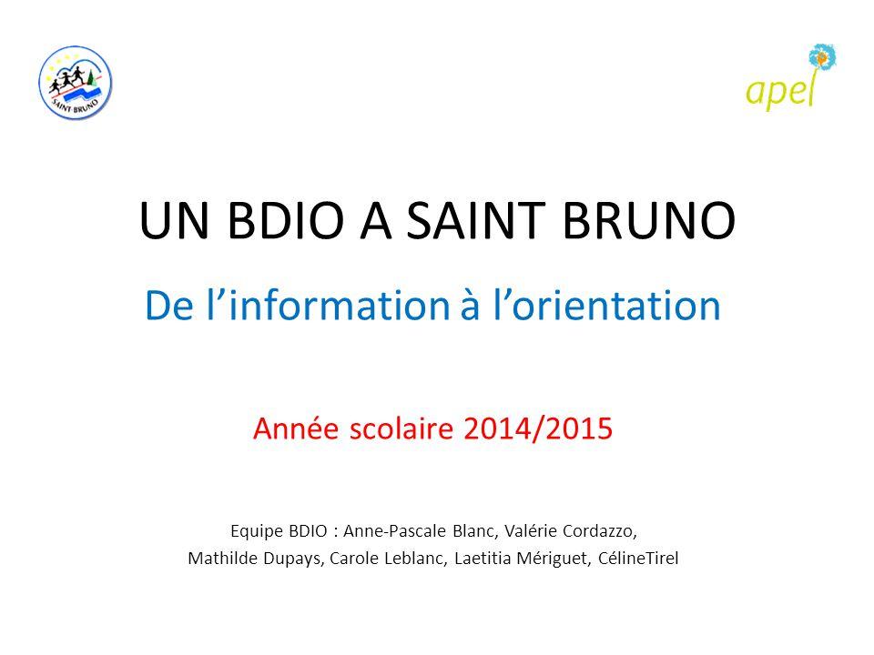 UN BDIO A SAINT BRUNO De l'information à l'orientation Année scolaire 2014/2015 Equipe BDIO : Anne-Pascale Blanc, Valérie Cordazzo, Mathilde Dupays, C