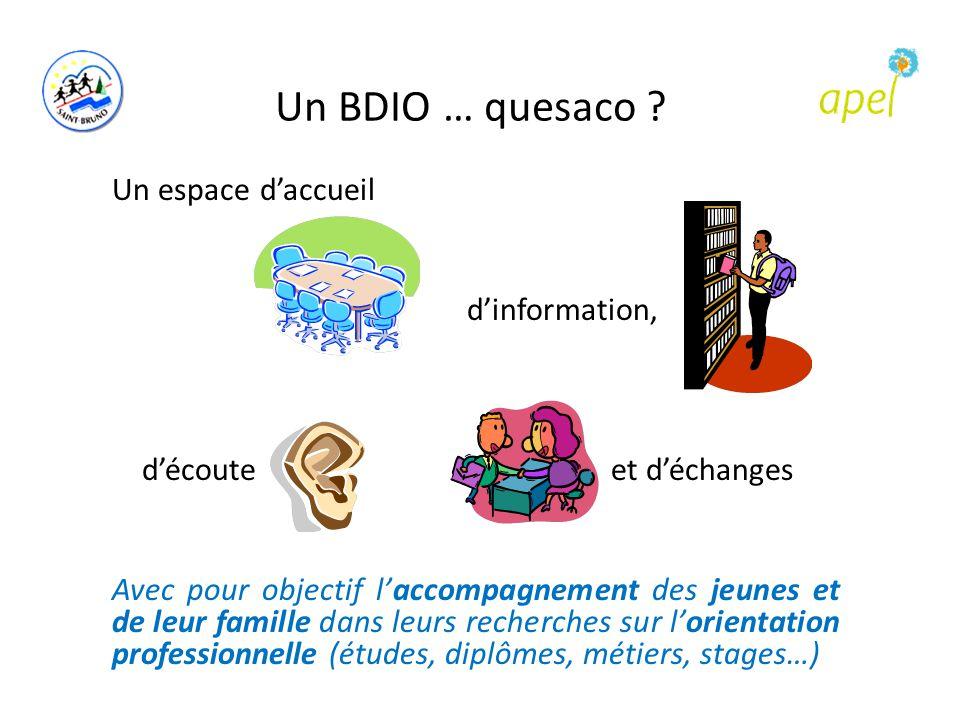 Un BDIO … quesaco ? Un espace d'accueil d'information, d'écoute et d'échanges Avec pour objectif l'accompagnement des jeunes et de leur famille dans l