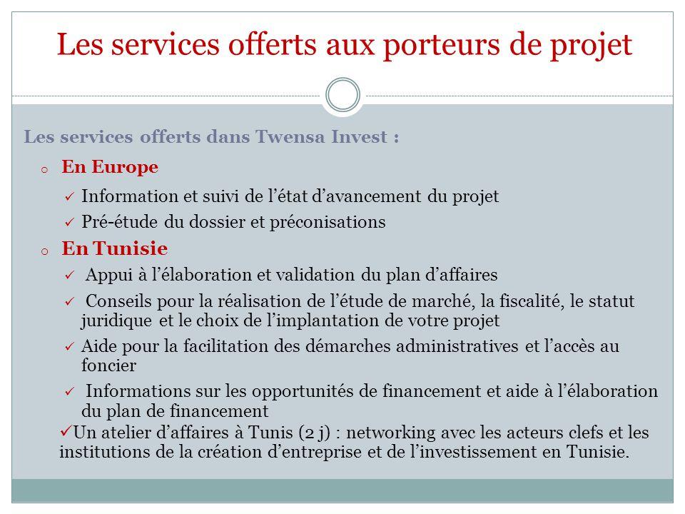 Les services offerts aux porteurs de projet Les services offerts dans Twensa Invest : o En Europe Information et suivi de l'état d'avancement du proje