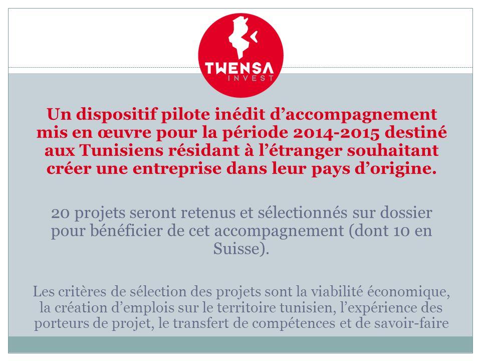 Un dispositif pilote inédit d'accompagnement mis en œuvre pour la période 2014-2015 destiné aux Tunisiens résidant à l'étranger souhaitant créer une entreprise dans leur pays d'origine.