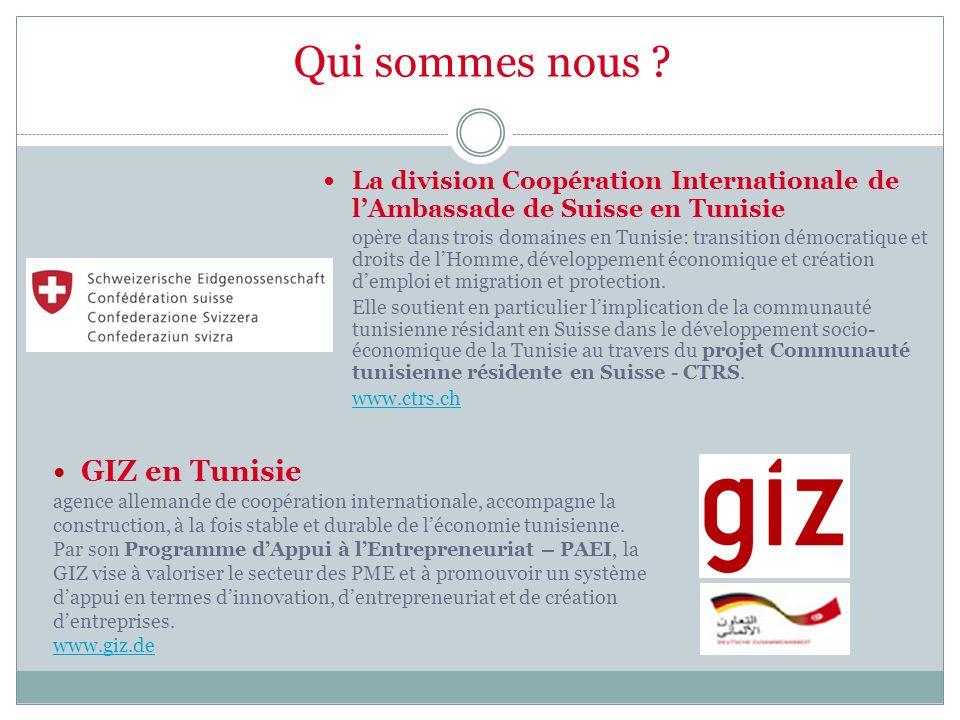 Qui sommes nous ? La division Coopération Internationale de l'Ambassade de Suisse en Tunisie opère dans trois domaines en Tunisie: transition démocrat