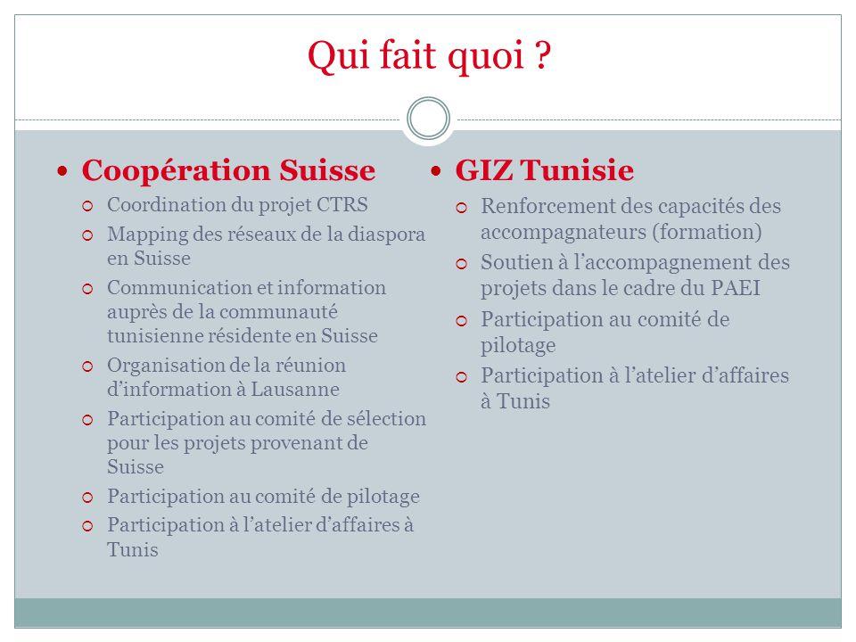 Qui fait quoi ? Coopération Suisse  Coordination du projet CTRS  Mapping des réseaux de la diaspora en Suisse  Communication et information auprès