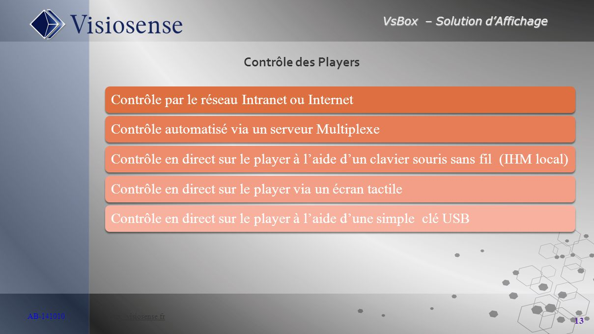 VsBox – Solution d'Affichage 13 AB-141010 http://visiosense.frhttp://visiosense.fr Contrôle par le réseau Intranet ou InternetContrôle automatisé via