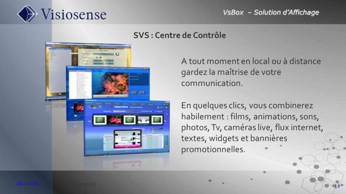 VsBox – Solution d'Affichage 15 AB-141010 http://visiosense.frhttp://visiosense.fr A tout moment en local ou à distance gardez la maîtrise de votre co