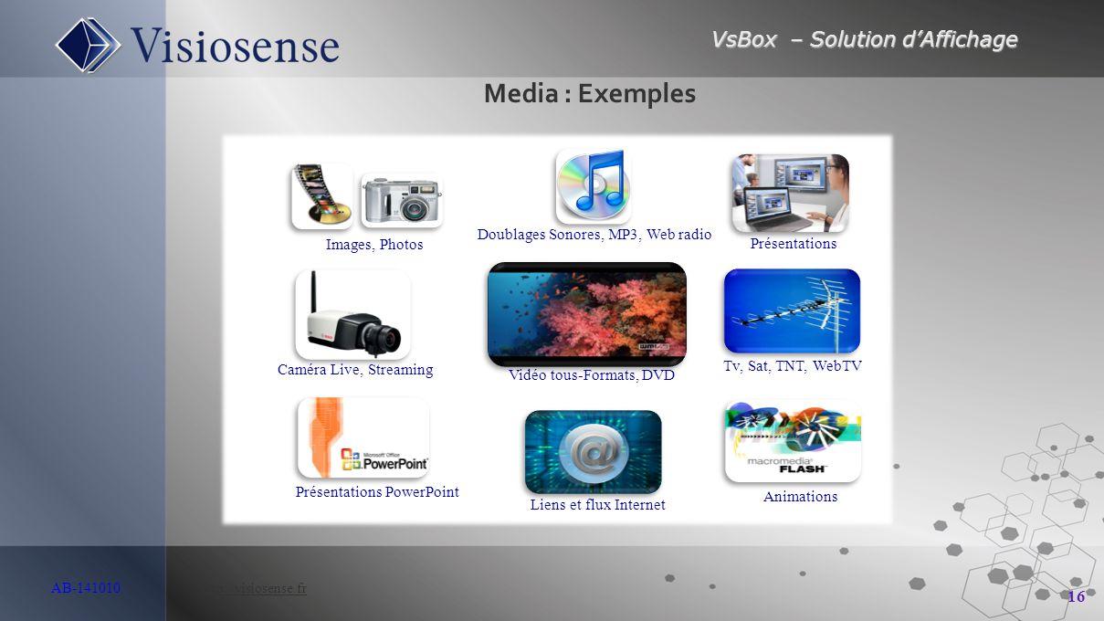 VsBox – Solution d'Affichage 16 AB-141010 http://visiosense.frhttp://visiosense.fr Liens et flux Internet Présentations PowerPoint Animations Vidéo to