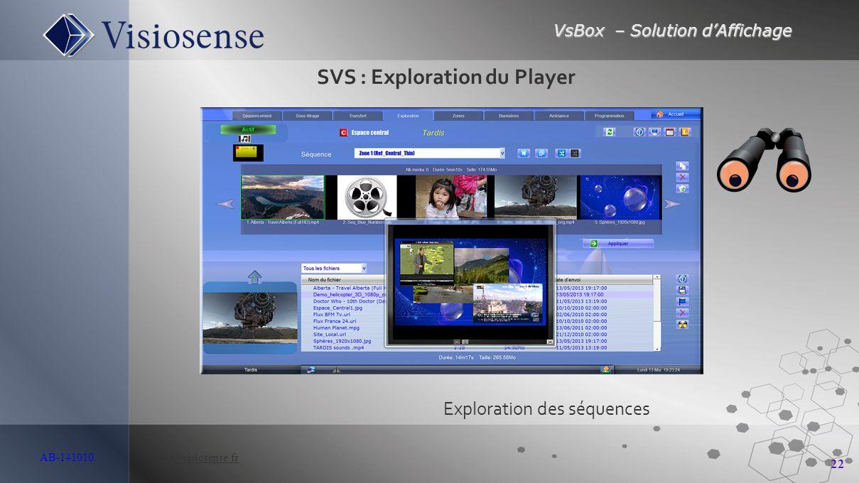 VsBox – Solution d'Affichage 22 AB-141010 http://visiosense.frhttp://visiosense.fr Exploration des séquences SVS : Exploration du Player