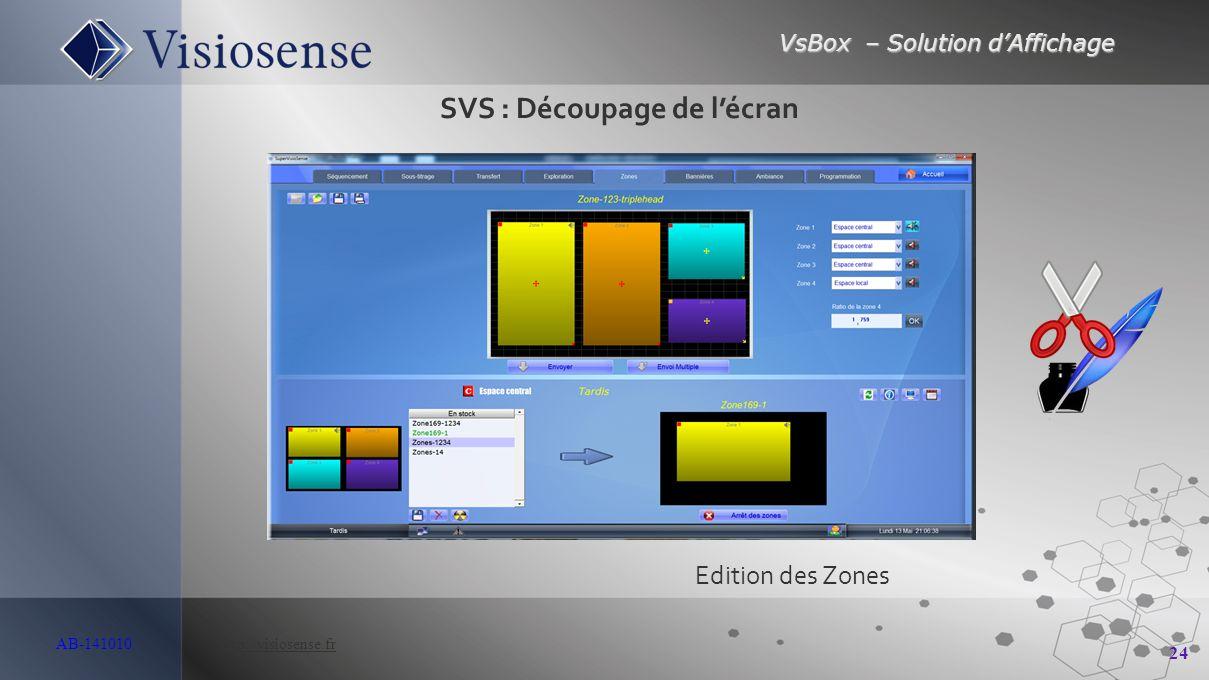 VsBox – Solution d'Affichage 24 AB-141010 http://visiosense.frhttp://visiosense.fr Edition des Zones SVS : Découpage de l'écran