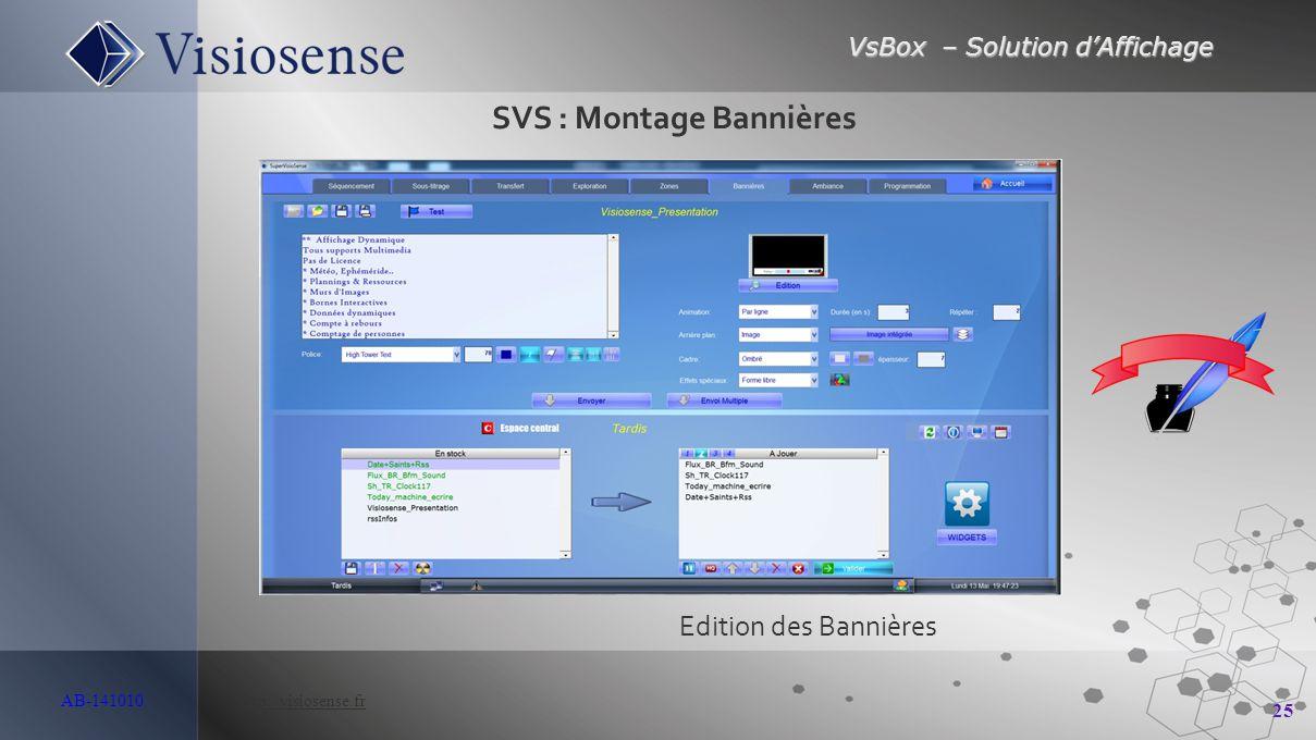 VsBox – Solution d'Affichage 25 AB-141010 http://visiosense.frhttp://visiosense.fr Edition des Bannières SVS : Montage Bannières