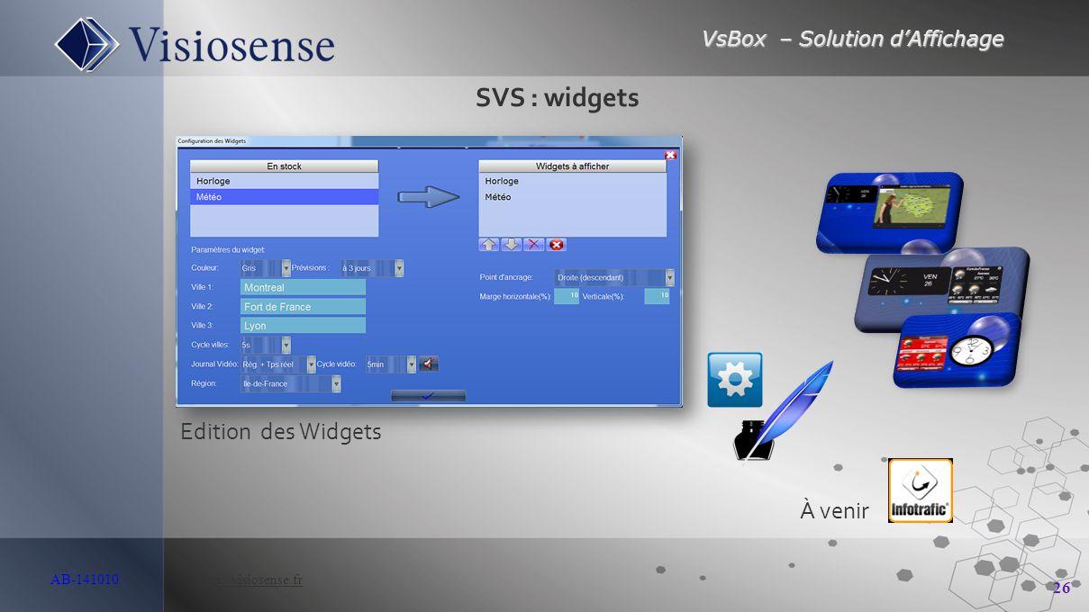 VsBox – Solution d'Affichage 26 AB-141010 http://visiosense.frhttp://visiosense.fr Edition des Widgets SVS : widgets À venir