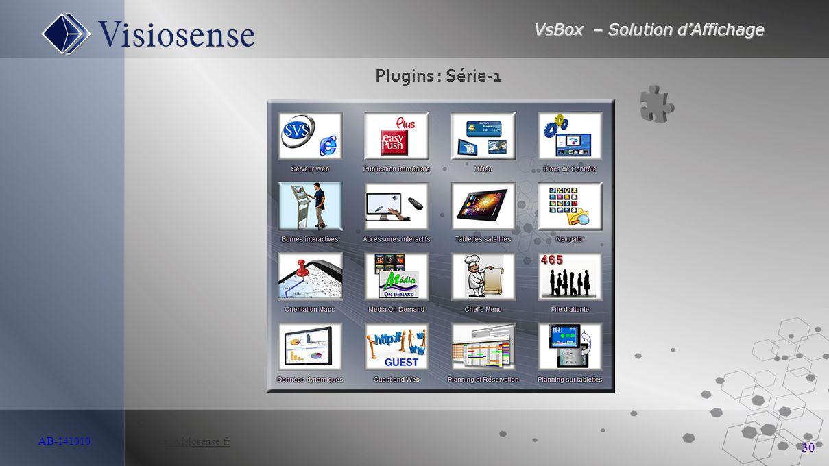 VsBox – Solution d'Affichage 30 AB-141010 http://visiosense.frhttp://visiosense.fr Plugins : Série-1
