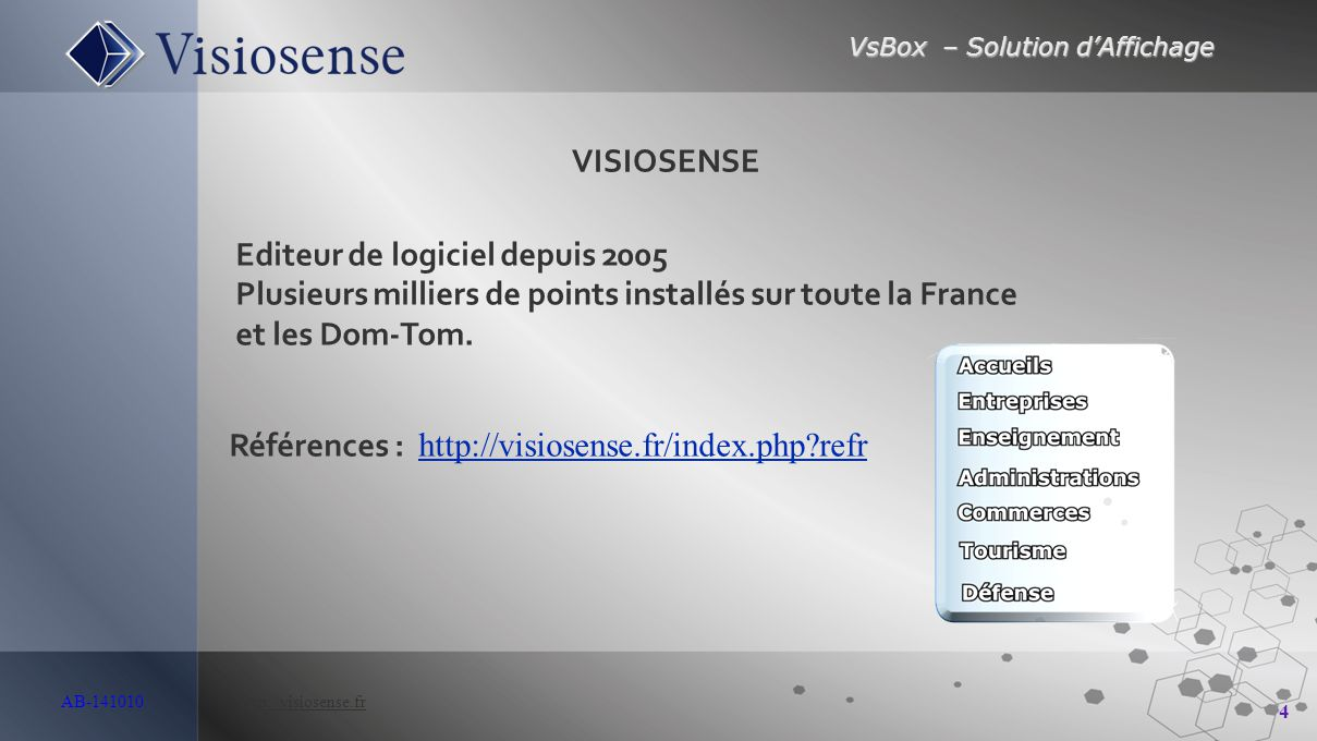 VsBox – Solution d'Affichage 5 AB-141010 http://visiosense.frhttp://visiosense.fr Solution VsBox Une solution de communication visuelle intelligente, souple, attractive et réactive.