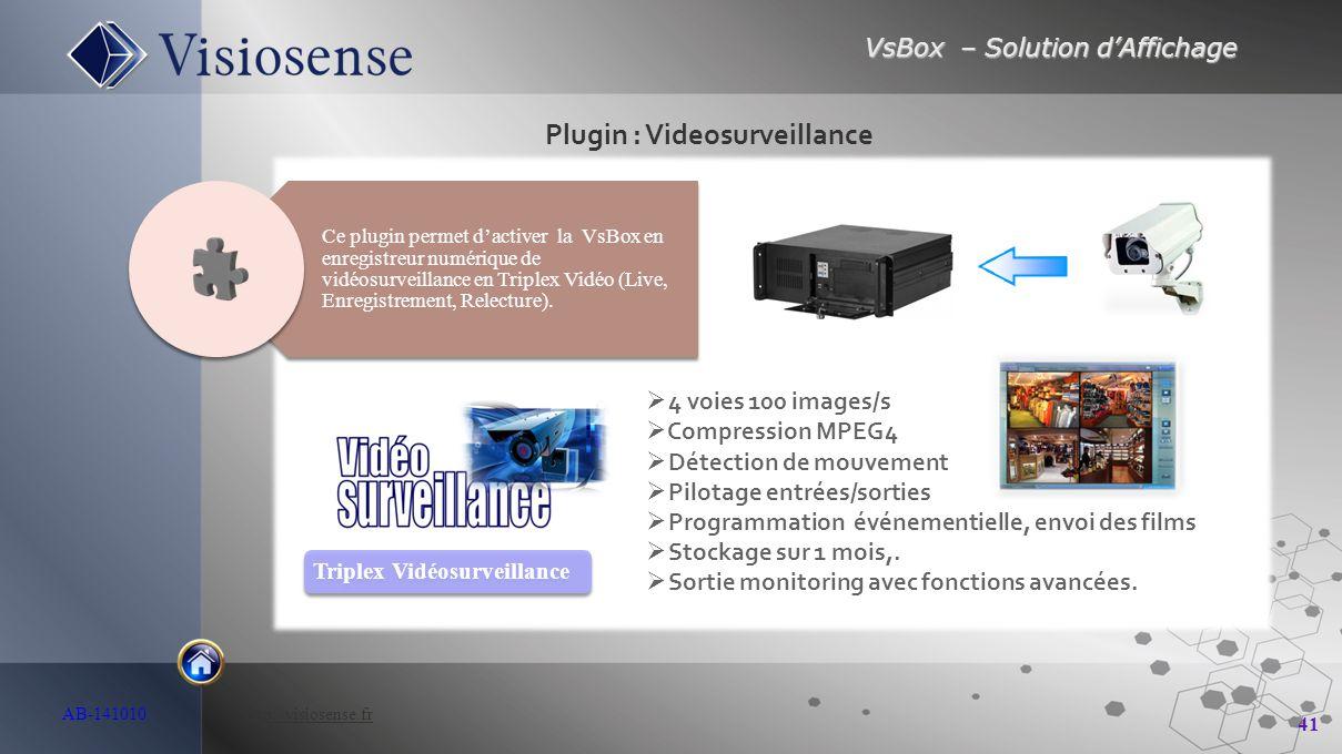 VsBox – Solution d'Affichage 41 AB-141010 http://visiosense.frhttp://visiosense.fr Plugin : Videosurveillance Triplex Vidéosurveillance Ce plugin perm