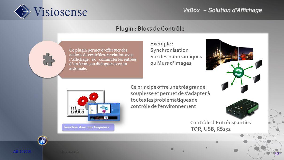 VsBox – Solution d'Affichage 43 AB-141010 http://visiosense.frhttp://visiosense.fr Plugin : Blocs de Contrôle Insertion dans une Séquence Ce plugin pe