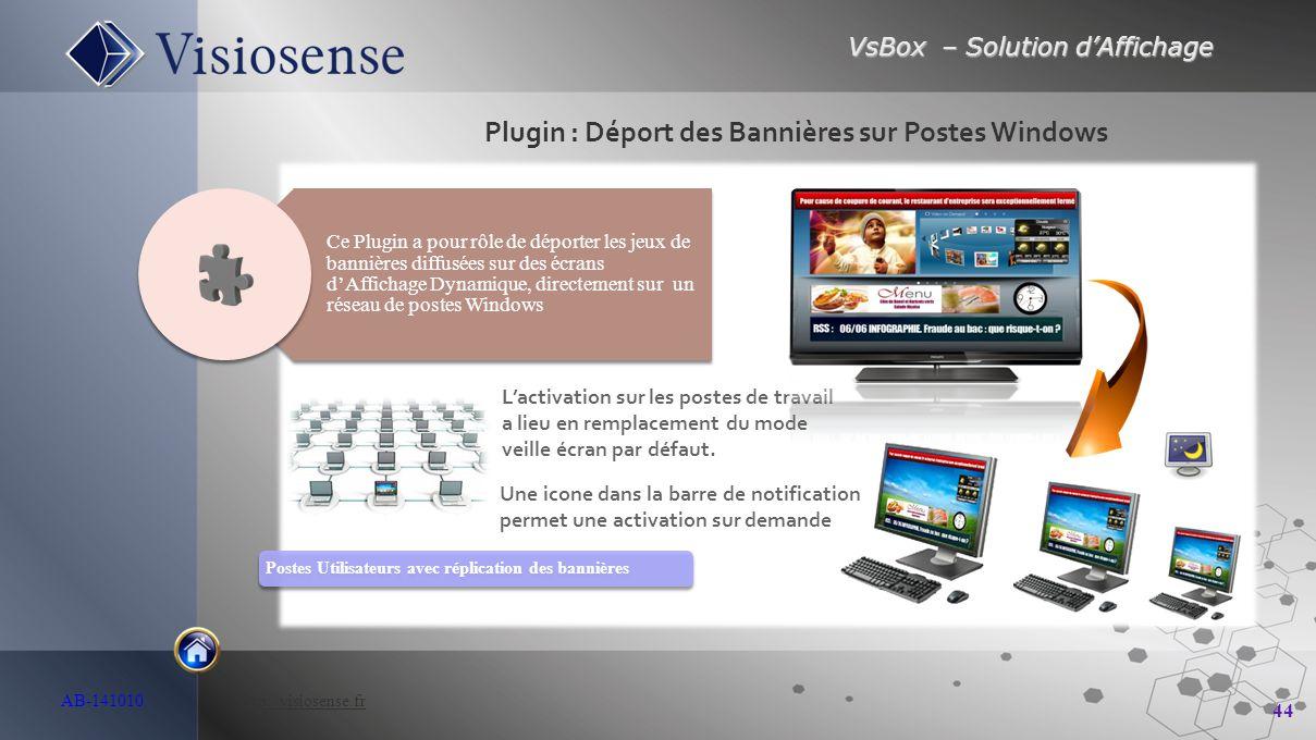 VsBox – Solution d'Affichage 44 AB-141010 http://visiosense.frhttp://visiosense.fr Plugin : Déport des Bannières sur Postes Windows Postes Utilisateur