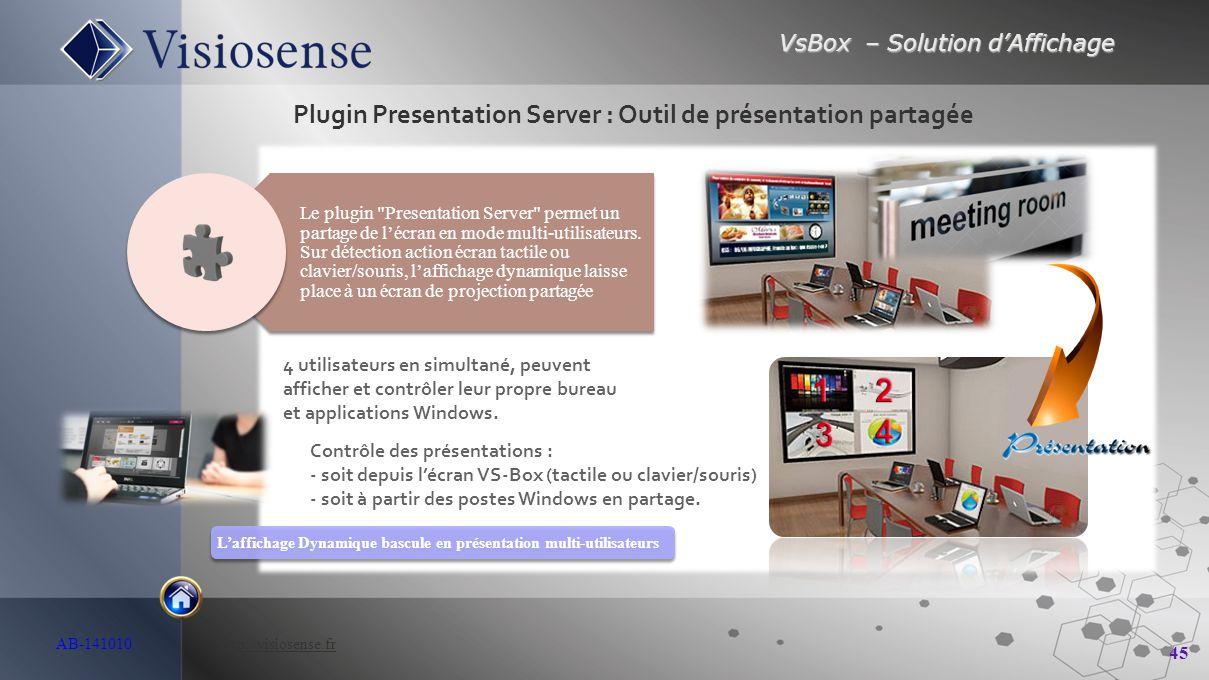 VsBox – Solution d'Affichage 45 AB-141010 http://visiosense.frhttp://visiosense.fr Plugin Presentation Server : Outil de présentation partagée L'affic