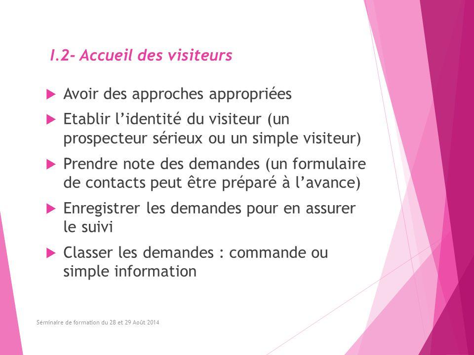 I.2- Accueil des visiteurs  Avoir des approches appropriées  Etablir l'identité du visiteur (un prospecteur sérieux ou un simple visiteur)  Prendre