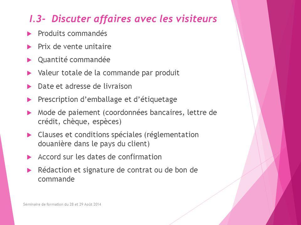 I.3- Discuter affaires avec les visiteurs  Produits commandés  Prix de vente unitaire  Quantité commandée  Valeur totale de la commande par produi