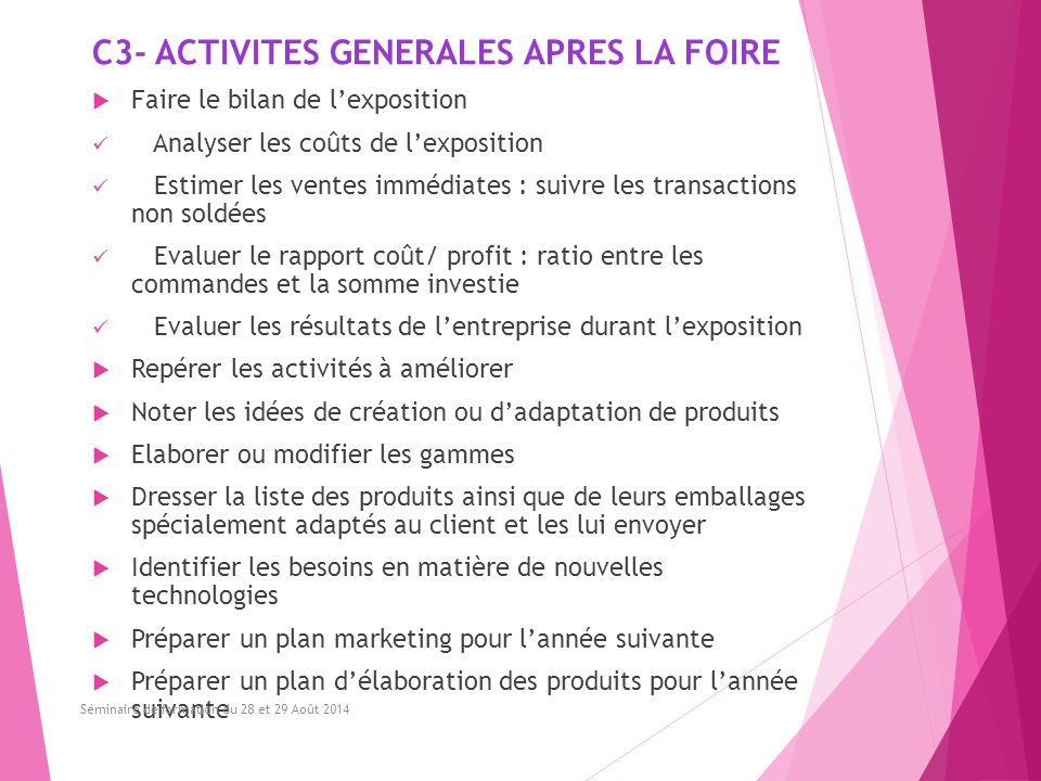 C3- ACTIVITES GENERALES APRES LA FOIRE  Faire le bilan de l'exposition Analyser les coûts de l'exposition Estimer les ventes immédiates : suivre les