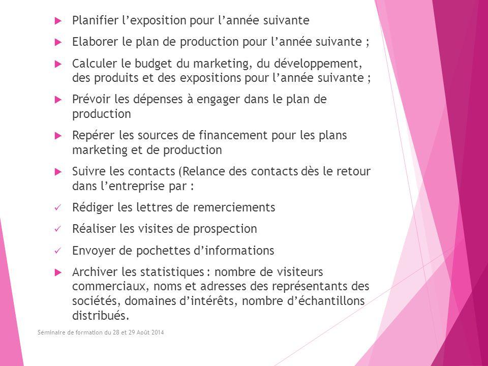  Planifier l'exposition pour l'année suivante  Elaborer le plan de production pour l'année suivante ;  Calculer le budget du marketing, du développ