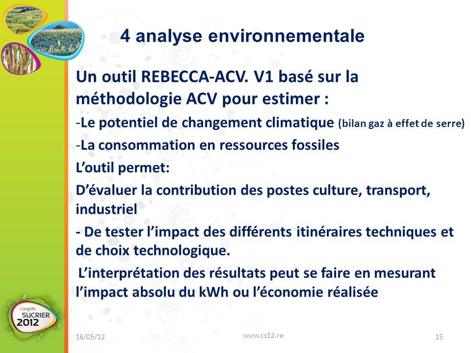 16/05/12 www.cs12.re 15 Un outil REBECCA-ACV. V1 basé sur la méthodologie ACV pour estimer : -Le potentiel de changement climatique (bilan gaz à effet
