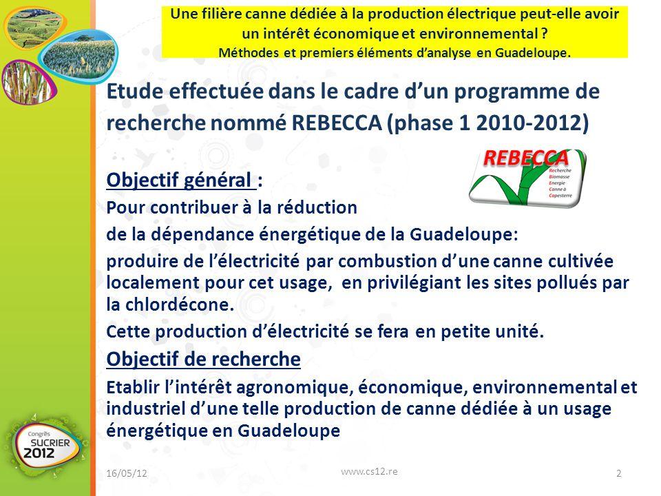 Etude effectuée dans le cadre d'un programme de recherche nommé REBECCA (phase 1 2010-2012) Objectif général : Pour contribuer à la réduction de la dé