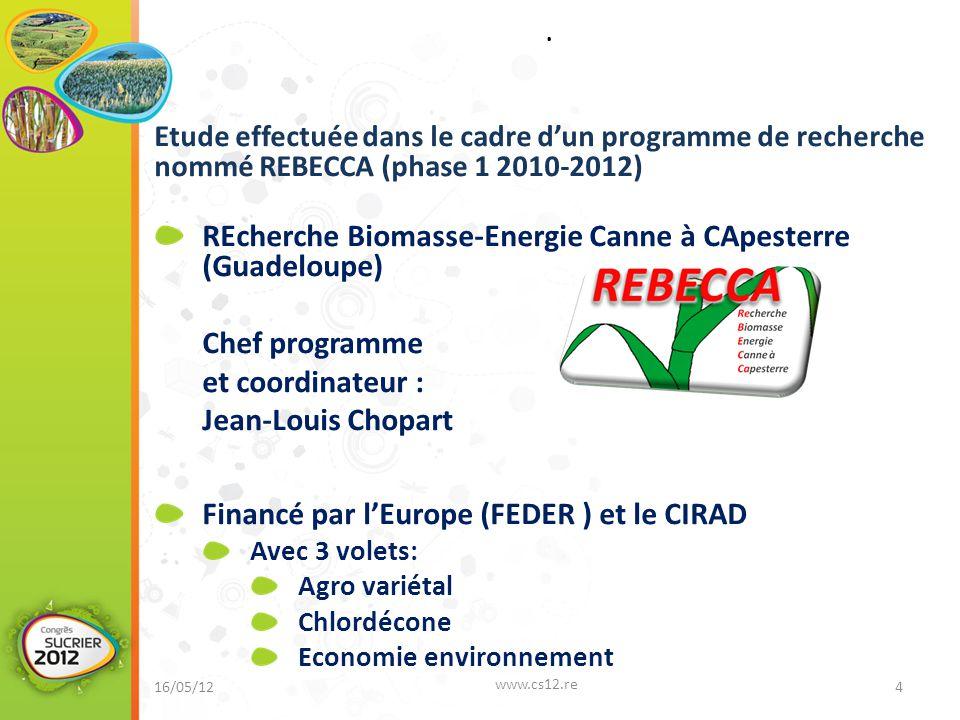Etude effectuée dans le cadre d'un programme de recherche nommé REBECCA (phase 1 2010-2012) REcherche Biomasse-Energie Canne à CApesterre (Guadeloupe)