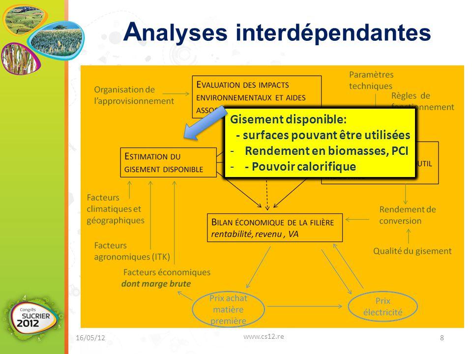 A nalyses interdépendantes 16/05/12 www.cs12.re 8 Gisement disponible: - surfaces pouvant être utilisées -Rendement en biomasses, PCI -- Pouvoir calor