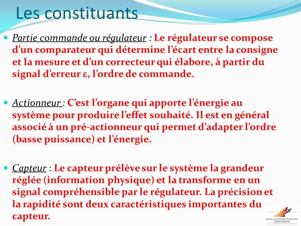 Les constituants Partie commande ou régulateur : Le régulateur se compose d'un comparateur qui détermine l'écart entre la consigne et la mesure et d'u
