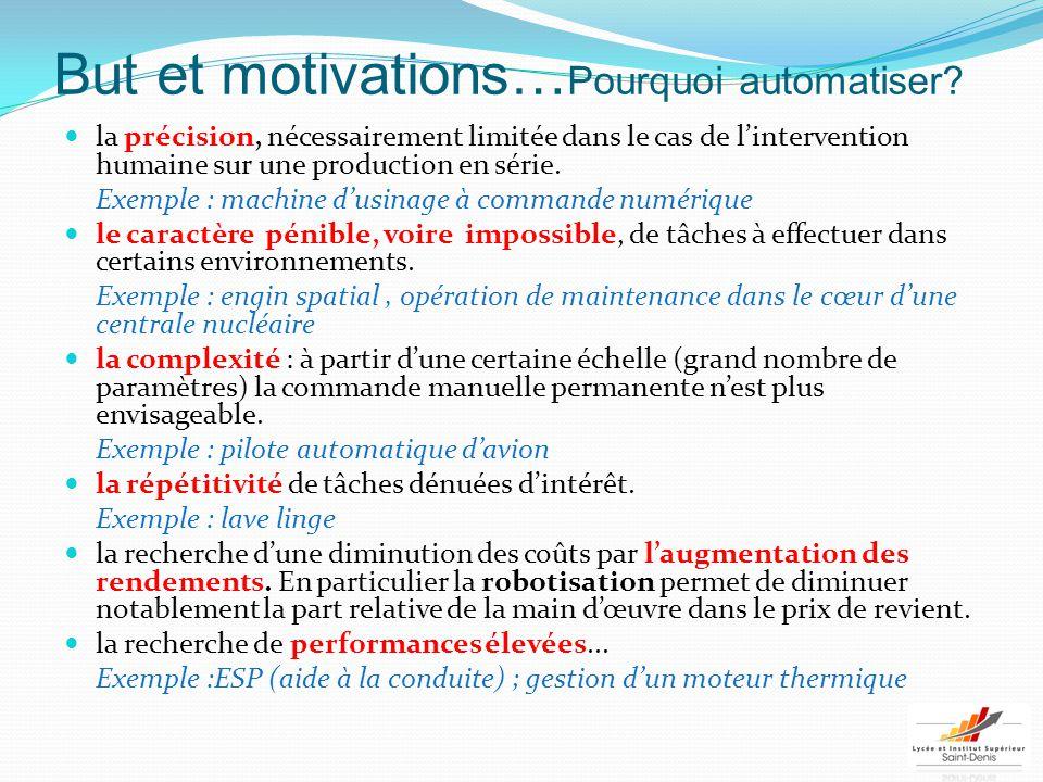 But et motivations… Pourquoi automatiser? la précision, nécessairement limitée dans le cas de l'intervention humaine sur une production en série. Exem