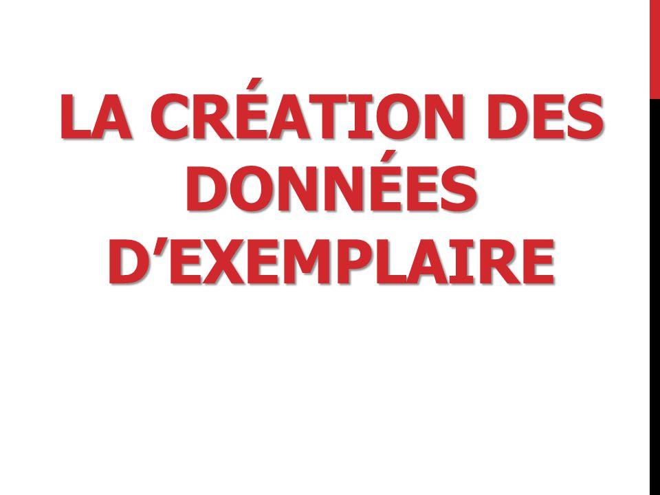 LA CRÉATION DES DONNÉES D'EXEMPLAIRE