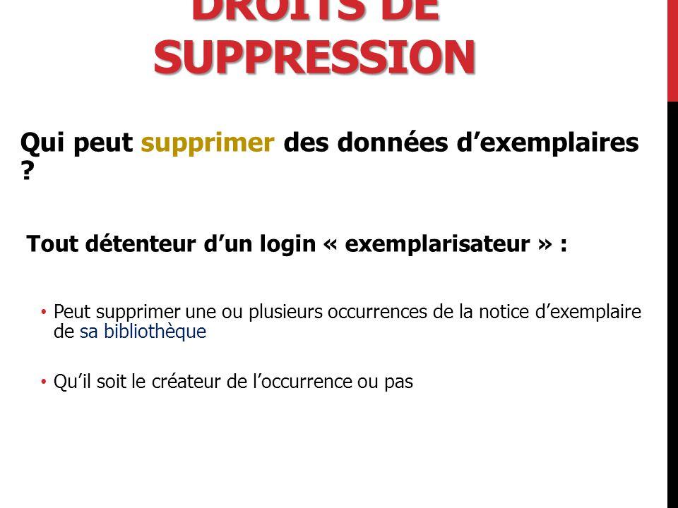 DROITS DE SUPPRESSION Qui peut supprimer des données d'exemplaires .