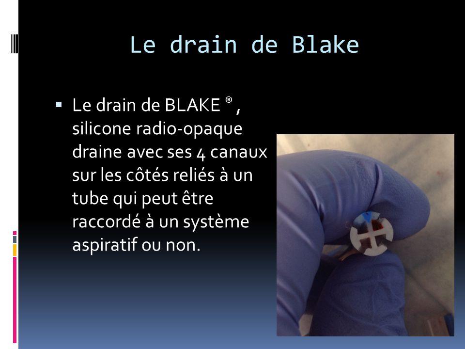 Le drain de Blake  Le drain de BLAKE ®, silicone radio-opaque draine avec ses 4 canaux sur les côtés reliés à un tube qui peut être raccordé à un sys