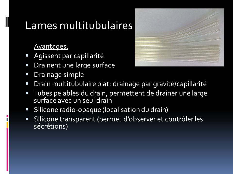 Lames multitubulaires Avantages:  Agissent par capillarité  Drainent une large surface  Drainage simple  Drain multitubulaire plat: drainage par g
