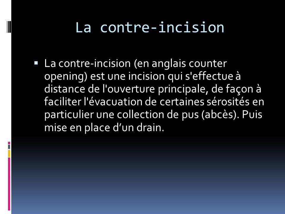 La contre-incision  La contre-incision (en anglais counter opening) est une incision qui s'effectue à distance de l'ouverture principale, de façon à